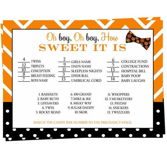 items similar to halloween baby shower game how sweet it is bow tie