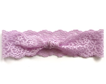 Lavendar Knotted Lace Headband // Baby Girl Headband, Infant, Newborn, Toddler, Adult, Purple, Turban :L