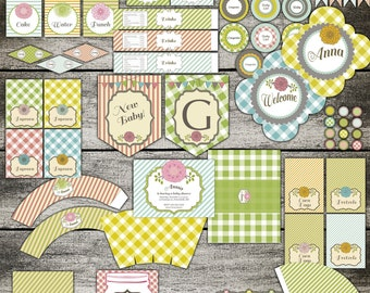 Floral Baby Party Pack Set  - Baby Shower - card invitation banner Digital Printable