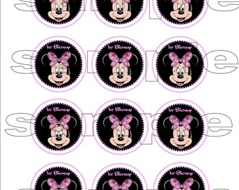 """Minnie Mouse 1st Birthday Cupcake Toppers DIY 2"""" SET OF 12"""