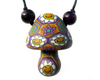 Mushroom pendant with daisy, star flower and spiral millefiori patterns, handmade from polymer clay, flower power necklace, miracle beads