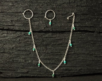 Sterling Silver Nose chain dangle with Genuine turquoise beads + extra matching earring