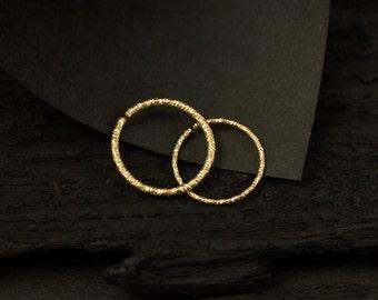 14k Glitter Gold filled SINGLE hoop /Nose ring / Cartilage / tragus / rook / death piercing