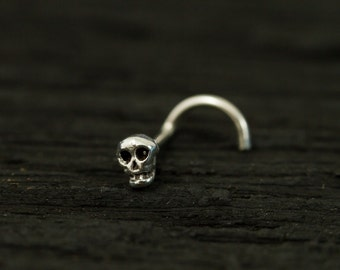Mini Skull sterling silver nose stud / nose screw / nose ring