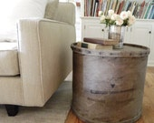 Vintage Rustic Barrel Crate Side Table Industrial Farmhouse
