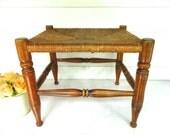 Vintage Wood Stool Woven Seat