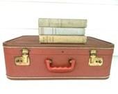 Vintage Suitcase Luggage Brown Burgundy Rust
