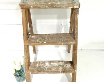 Vintage Step Ladder Rustic Paint Splattered