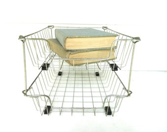 Vintage Metal Wire File Tray Baskets Double Tiered