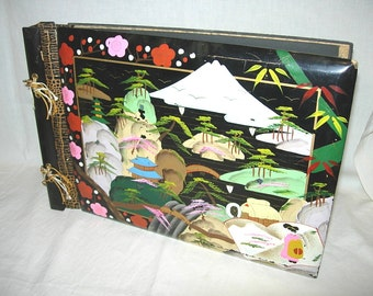 """Unused Vintage Photo Album-Scrapbook 10"""" X 15"""" Painted Lacquer Gesso Wood Japanese Geisha Mountain Pagoda Temple Blank Pages"""