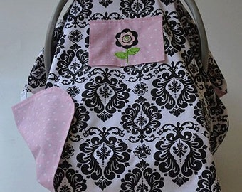 Baby Car Seat Cover READY TO SHIP Damask Black White Pink Baby Car Seat Canopy Baby Carrier Cover Baby Gift Baby Shower Newborn Baby Girl