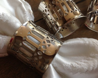 Set of 8 Silver-Plated Napkin Rings Pretty Filligree Design Perfect for Dressing Up Any Occassion