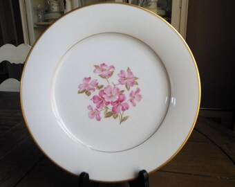 4 Noritake 5235 Dinner Plates Pink Dogwood Flower Centers Trimmed in Gold Set of Four