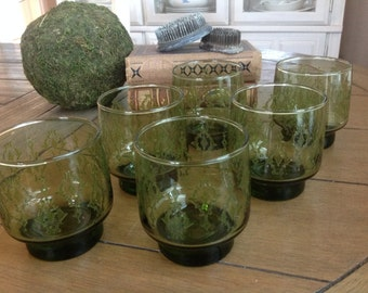 Retro Old Fashioned Green Cocktail Glasses Footed with Raised Embossed Design Set f 6