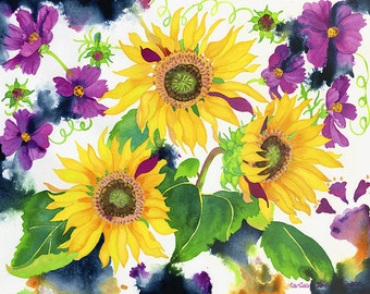 Sunflowers and Cosmos Flower Garden Watercolor Painting, Yellow and Purple Floral Fine Art Giclee Print