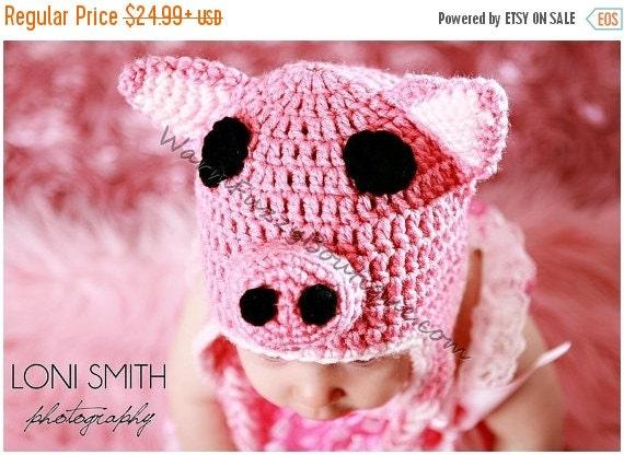 VALENTINES SALE Baby Piggy Earflaps Hat - Crochet Newborn NB Beanie Boy Girl Costume Halloween  Christmas Winter Photo Prop Cap