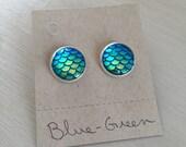 Blue green SILVER mermaid scale earrings