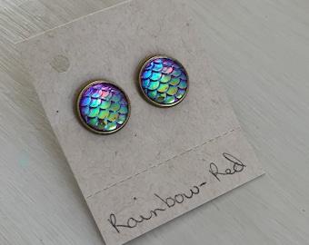 Rainbow-red mermaid scale earrings