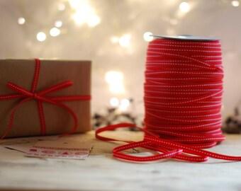 Christmas Ribbon, Gift Wrapping, Red Ribbon, Stitched Ribbon, Christmas, Red Christmas Ribbon