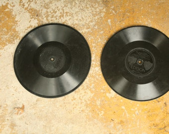 Vintage Edison Record, Set of Two, Old Records, Home Decor, Diamond Disk, 78 rpm