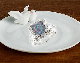 Natural Australian Opal Engagement Ring, Opal Promise Ring, Halo, Bague Fiancaille Opale, Square Solitaire Gemstone, Non traditional Rings