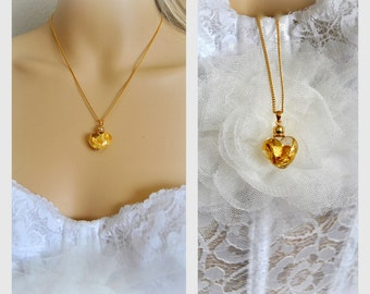 SALE 25%OFF Heart Gold bridal jewelry, 14k jewelry necklace, Wedding Gifts, Pendant, Bridesmaids Accessories