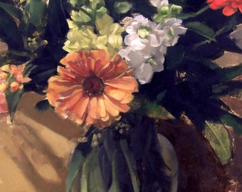Fall Flower Arrangement (no.94) Oil Painting (Framed) Still Life Realism