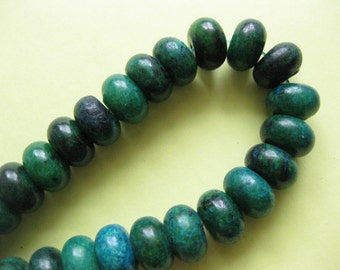 Gemstone Beads strand Green Chrysocolla Bead Rondelle 12x7mm 8 Inches/ Strand,  26pcs/strand