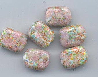 Six vintage Japanese millefiori lampwork glass beads -- rich pastels