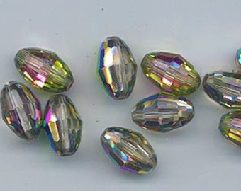 Twelve dazzling vintage Swarovski crystal beads: Art. 5200 - 12 x 8 mm - vitrail medium
