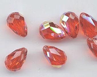 Six vintage Swarovski crystal beads - Art. 5500 - 15 x 10 mm - hyacinth AB