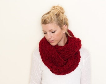 SUMMER SALE the CHARLOTTE infinity - The Chunky Cowl Infinity Scarf Shawl Hood - chili - limited quantities