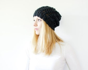 PRE-FALL SALE Slouchy hat crochet beanie womens beanie - the Sumter - mercury grey - wool