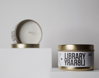 LIBRARY // Soy Travel Candle Gardenia, Cypress & Sandlewood
