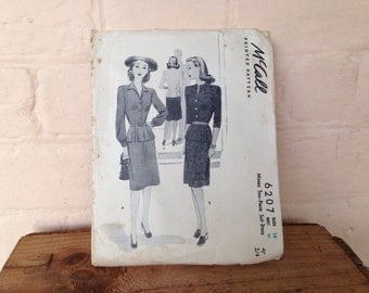 Vintage McCall Sewing Pattern 6207 - 1941 Size 16 Bust 34 - Misses two-piece suit dress