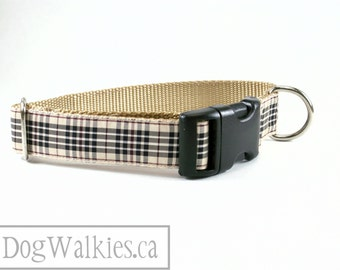 """Blackberry Tartan - Tan Plaid Dog Collar - Quick Release or Martingale Dog Collar - 1"""" (25mm) Wide - Your choice of size and style"""