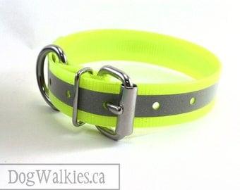 "Sunny Neon Yellow // Reflective Biothane Dog Collar // Adjustable Buckle // Custom Size // 1"" - 25mm Wide"