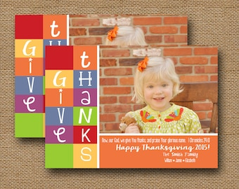 "Thanksgiving Photo Card | ""Thanksgiving Colorblock"" {2} 