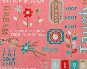 BTHY Adornit Owls Word Cuddle Coral Minky Owl Fabric Yardage by Shannon Fabric