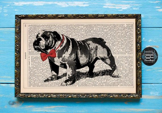 Bow-tied Bulldog Vintage Inspired Art Print on an Unframed Upcycled Bookpage