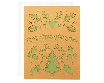 "Christmas Card - ""Tis' the Season"" Laser Cut Indie Christmas Card"