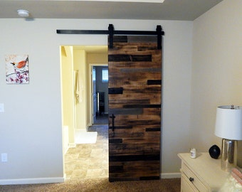 Georgia Reclaimed Look Interior Barn Door   Horizontal Plank Style Sliding Barn  Doors