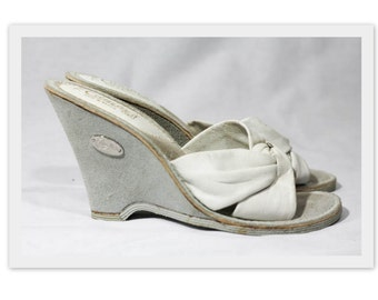 Vintage Candie's White Leather 70s Wedges -Never Worn Like New-