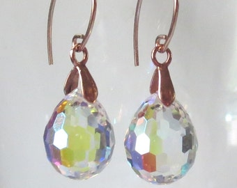 Faceted AB Plump Clear Crystal Teardrop Rose Gold Earrings