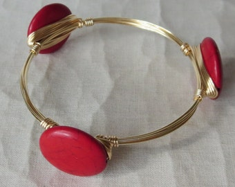 "Red Howlite Disc Bangle Bracelet ""Bourbon and Bowties"" Inspired"