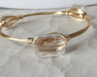"Clear Crystal Bangle Bracelet ""Bourbon and Bowties Inspired"""