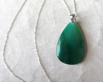 Green Agate Sterling Silver Pendant Necklace