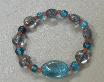 Lampwork aqua and gold glass bracelet