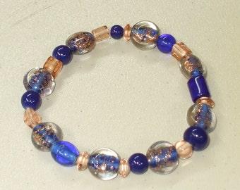 Royal blue lampwork bracelet