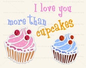 I love you more than cupcakes, 3D digital graphic instant download, bright colorful cute clipart for children glitter clipart craft birthday